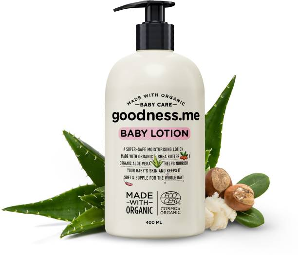 goodnessme Certified Organic Moisturizing Baby Face & Body Lotion, 400ml, Paediatrician Certified, Hypoallergenic, Certified Organic by ECOCERT France