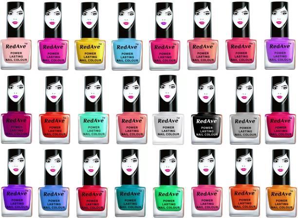 RedAve Extreme Shine Long Lasting Premium Series Nail Polish Combo Set of 24Pcs RANP6ML24P31 Multicolor