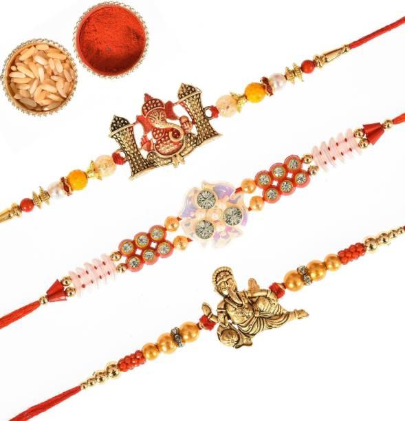 INDIAN CRAFT CASTLE Thread Rakhi, Chawal Roli Pack  Set