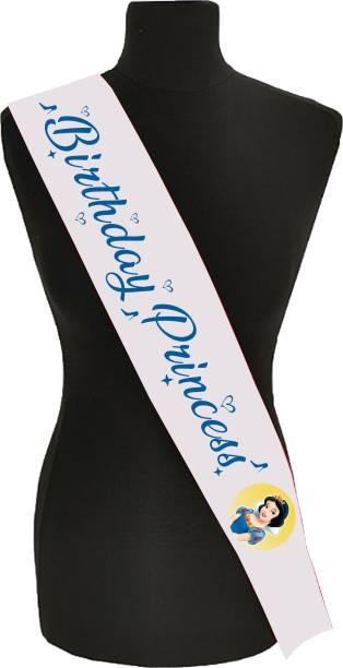 "Style Secrets Shimmering White Woven Edge 3"" Satin Birthday Princess Sash for Girls Birthday Party"