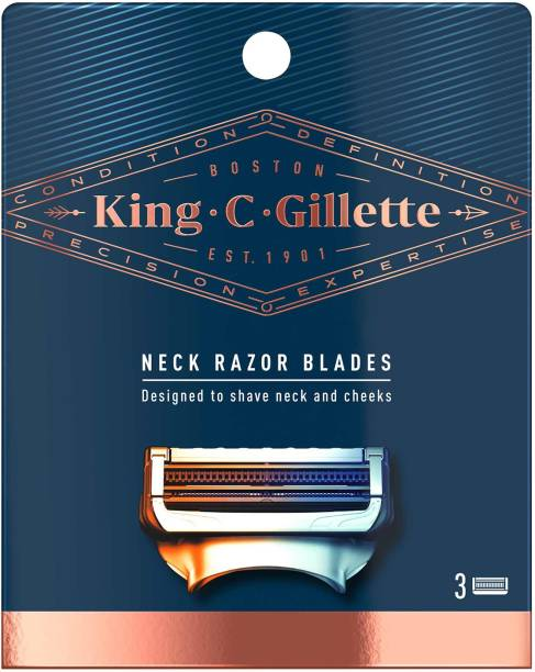 King C. Gillette Mens Neck Razor Cartridges (Pack of 3) with Built in Precision Trimmer for Shaping