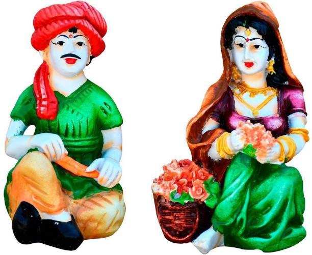Natali Traders Natali Traders Rajasthani Couple Craftman with Lady Decorative Statue for Home Decor, Office Desk, Table Decor, Gift Showpiece, Multi-Color Decorative Showpiece  -  10.2 cm