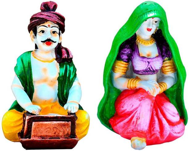 Natali Traders Rajasthani Couple Craftman Playing Harmonium with Lady Decorative Statue for Home Decor Decorative Showpiece  -  36 cm