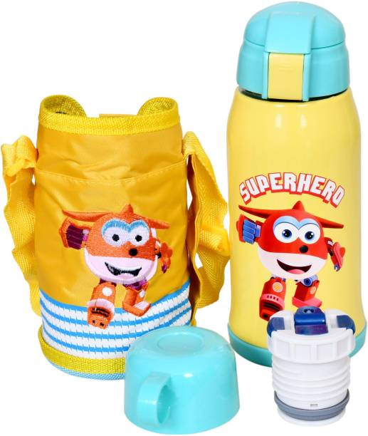 Miss & Chief Stainless Steel Insulated Sipper Bottle for Kids/Sipper School Bottle/Sipper Bottle with Straw/Travelling Water Bottle for Kids with Pop up Straw (Yellow (550 ML))