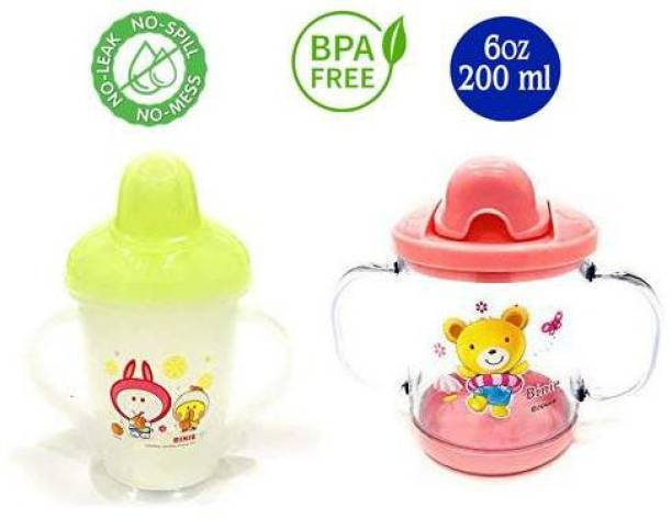 Miss & Chief Premium Quality Bpa Free Unbreakable Sippy Cup (Sipper Mugs for Kids/Children/Babies/Infants) Spout Infant PP Water/Juice Training Sipper Cup with Handles 200 ml (Pink & Green)