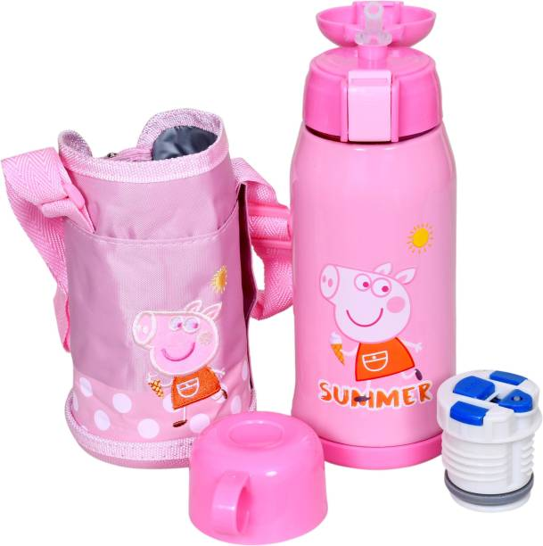 Miss & Chief Stainless Steel Insulated Sipper Bottle for Kids/Sipper School Bottle/Sipper Bottle with Straw/Travelling Water Bottle for Kids with Pop up Straw (Pink (550 ML))