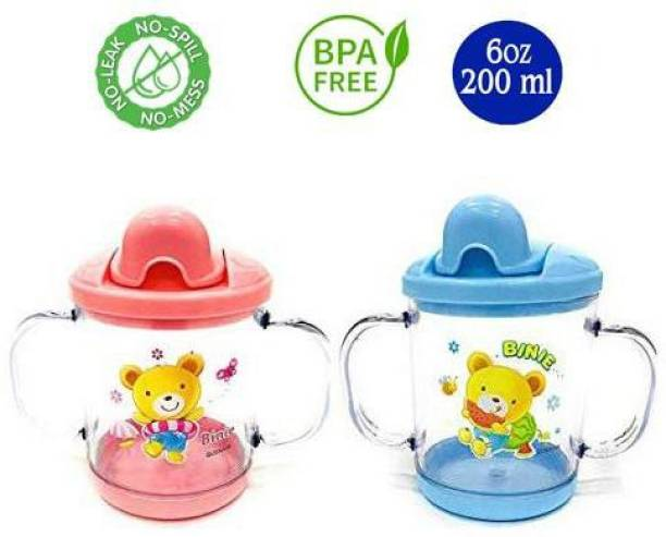 Miss & Chief Premium Quality Bpa Free Unbreakable Sippy Cup (Sipper Mugs for Kids/Children/Babies/Infants) Spout Infant PP/Glass Look Water/Juice Training Sipper Cup with Handles 200 ml (Pink & Blue)