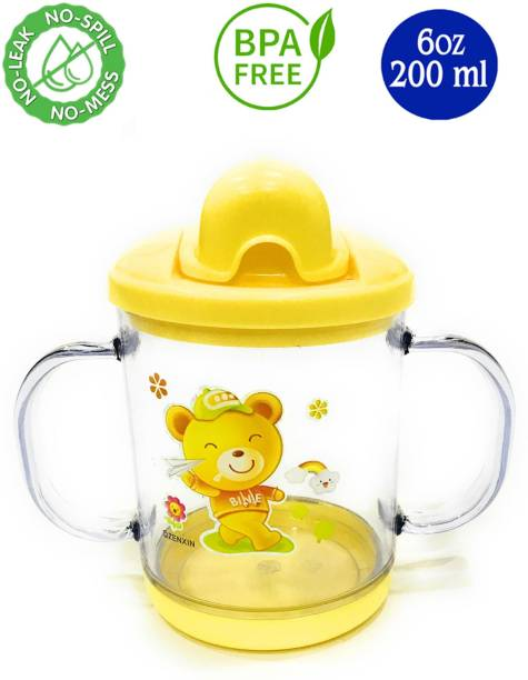 Miss & Chief Premium Quality Bpa Free Unbreakable Sippy Cup (Sipper Mugs for Kids/Children/Babies/Infants) Spout Infant PP/Glass Look Water/Juice Training Sipper Cup with Handles 200 ml (Yellow)