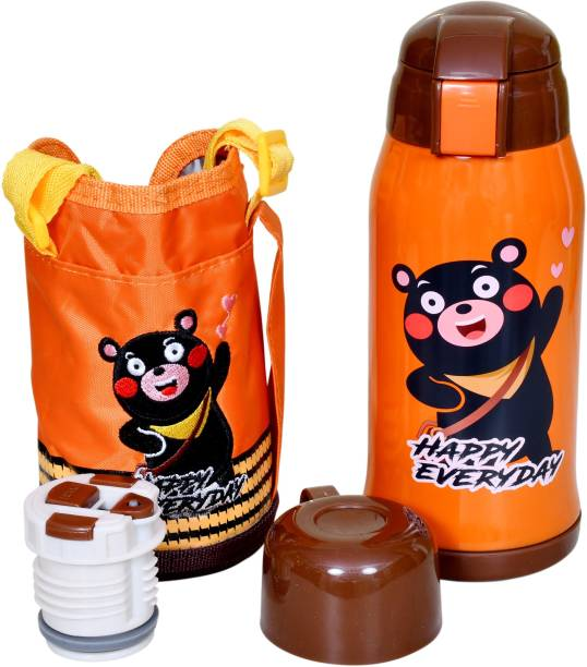 Miss & Chief Stainless Steel Insulated Sipper Bottle for Kids/Sipper School Bottle/Sipper Bottle with Straw/Travelling Water Bottle for Kids with Pop up Straw (Orange (550 ML))