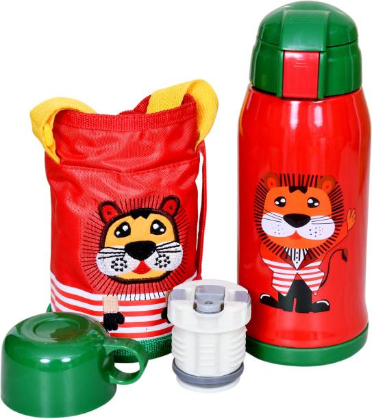 Miss & Chief Stainless Steel Insulated Sipper Bottle for Kids/Sipper School Bottle/Sipper Bottle with Straw/Travelling Water Bottle for Kids with Pop up Straw (Red (550 ML))