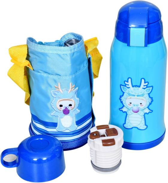 Miss & Chief Stainless Steel Insulated Sipper Bottle for Kids/Sipper School Bottle/Sipper Bottle with Straw/Travelling Water Bottle for Kids with Pop up Straw (Blue (550 ML))