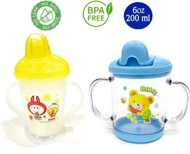 Miss & Chief Premium Quality Bpa Free Unbreakable Sippy Cup (Sipper Mugs for Kids/Children/Babies/Infants) Spout Infant PP Water/Juice Training Sipper Cup with Handles 200 ml (Yellow & Blue)