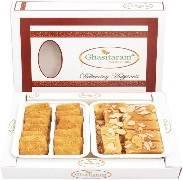 Ghasitaram Gifts Mithai Hampers - Mysore Pak and Methi Mathri Hamper Box