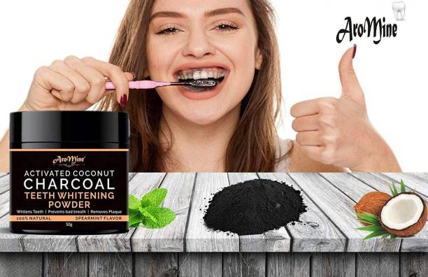 AroMine Natural Organic Teeth Whitening Charcoal Powder | For Tobacco Stain, Tartar, Gutkha Stain and Yellow Teeth Removal | No Side Effect-