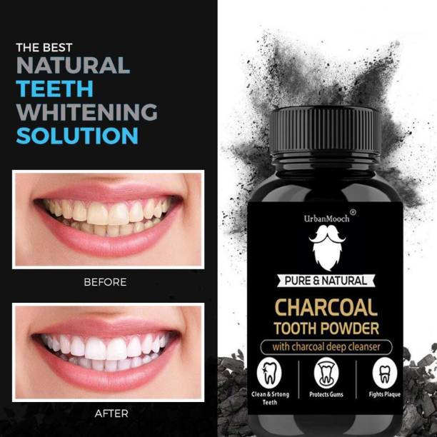 UrbanMooch Natural Organic Teeth Whitening Charcoal Powder | For Tobacco Stain, Tartar, Gutkha Stain and Yellow Teeth Removal | No Side Effect -