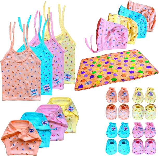 V.B.K Baby Boy and Baby Girl Essential Cloth Set Combo Pack / Gift Set With Jhabla (4 Pcs), Nappy (Langot) (4 Pcs), Hand Mittens (4 Pair), Leg Booties (4 Pair), Cap (4 Pcs) and Baby Bed Protector / Diaper Changing Mat (Waterproof Sheets) (21 Inch * 18 Inch) (1 Pcs), Pure Hosiery Soft Cloth Fabric, 0 to 6 Months