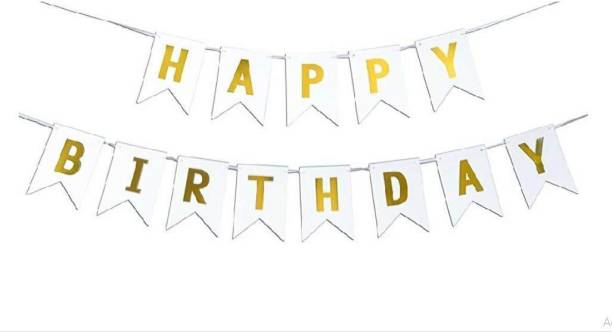 Rhythm Happy Birthday Card WHITE Board Banner for Birthday Celebration of Kids and Adults FOR PARTY DECORATION BIRTHDAY DECORATION Banner