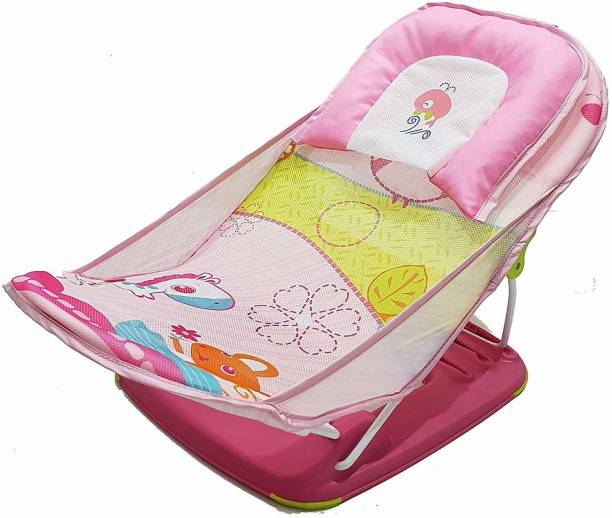 Miss & Chief Bathing Seat/Traning Seat for Babies/Infants/Toddlers | Deluxe Baby Bather with Removable Head Support Cushion Infant Bath Chair Toddler (0 Month+) Baby Bath Seat (Pink)
