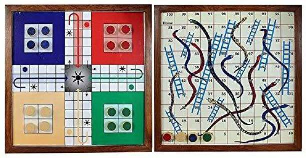 Smartcraft Ludo Set with Snake & Ladder, Handmade Wooden 2 in 1 Ludo Magnetic Snakes and Ladders Travel Board Game- Multicolor Party & Fun Games Board Game