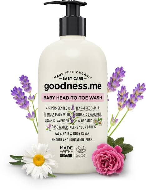 goodnessme Certified Organic Baby Head-to-Toe   Face, Body Wash & Shampoo   Tear Free, 400ml, Paediatrician & ECOCERT France Certified, Hypoallergenic