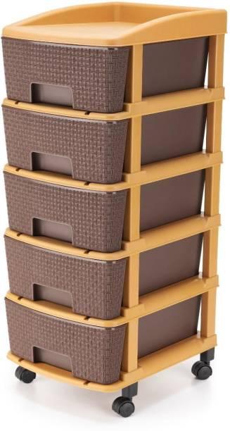 HUMBLE KART Free Standing Multipurpose 5 Layer Utility Drawer ( Brown ) Utensil Kitchen Rack (Plastic) Plastic Free Standing Chest of Drawers