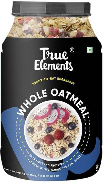 True Elements Whole Oatmeal with Chia & Real Whole Fruits, High in Fibre and Protein, Ready to Eat Breakfast