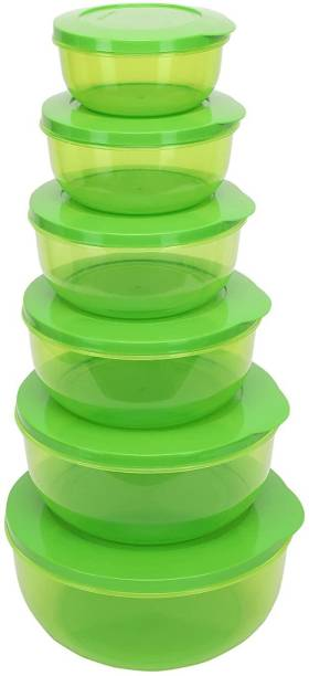 Cutting EDGE Set of 6 | 400 ML | 600 ML | 900 ML | 1300 ML | 1950 ML | 2700 ML | Green | Eco-Storage Plastic Container Set for Kitchen & Refrigerator | BPA Free | Multipurpose | Food Safe | Toxin Free | Reusable & Recyclable  - 400 ml, 600 ml, 900 ml, 1300 ml, 1950 ml, 2700 ml Plastic Utility Container