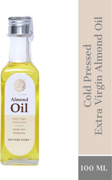The Pure Story 100% Pure Cold Pressed Almond Oil Glass Bottle