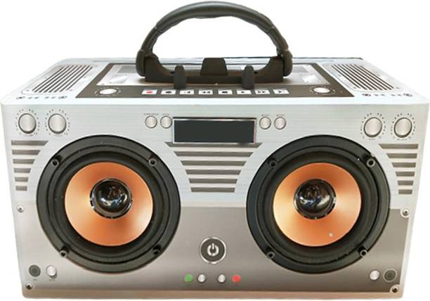 BeerTech X-BS1149 Stereo Audio Wooden Bluetooth Music Speaker Aux USB-TF Card Player with Mobile Stand FM Radio FM Radio