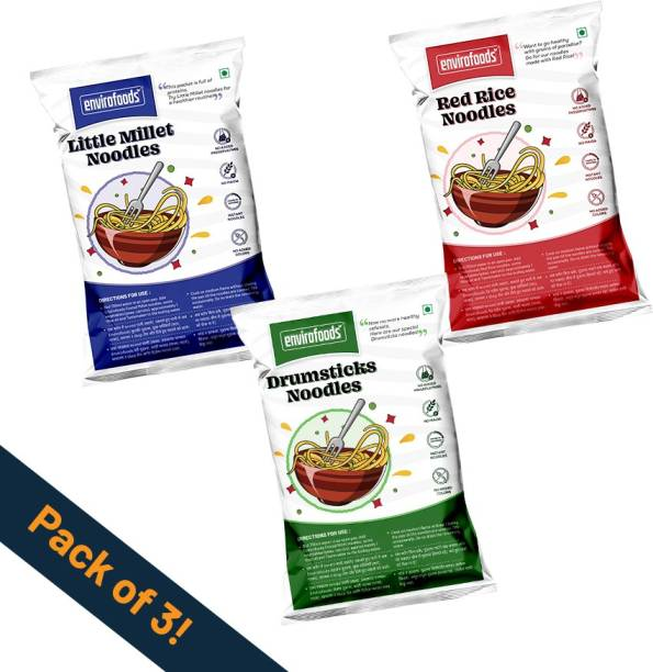 envirofoods Instant Healthy Noodles - Pack of 3 (Red Rice, Drumsticks, Little Millet) Combo