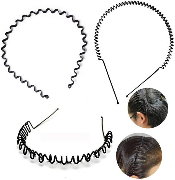 BHARATGAURAV Pack of 3 Black Flexible Metal Wavy and Spring Band Hair Hoop Hairband Daily Use for Unisex Men Women Pcs Non-Precious Premium Quality Hair Band
