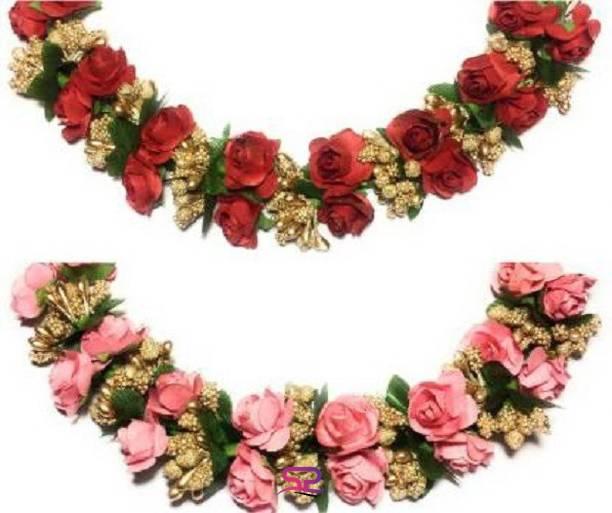 SP red paper and pink paper Hair Women/Girls Hair Accessory Set, Flower Juda Gajra Bun Clip