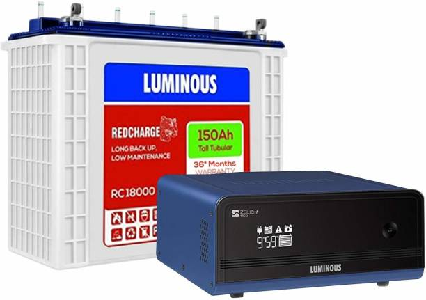 LUMINOUS Zelio 1100 Inverter with RC18000 Tubular Battery Tubular Inverter Battery