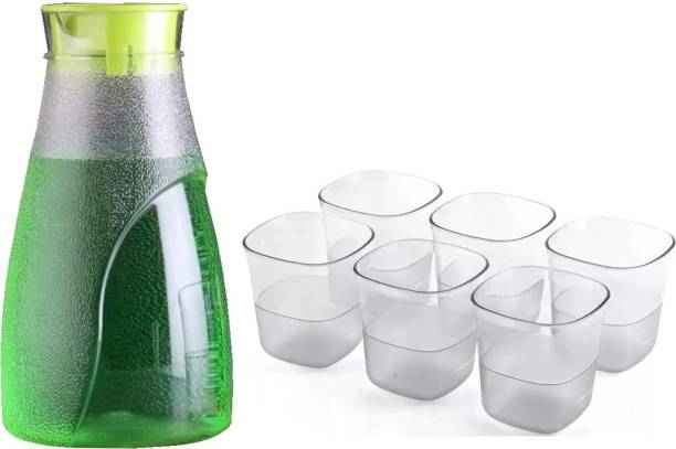 Solomon ™ Premium Quality Plastic Unbreakable Lemon Set, 1 Water Lemon Juice Jug and Drinking Plastic Transparent Water Glass Set 6 Pieces Glass Combo Set for Dining Table (GREEN) Jug Glass Set