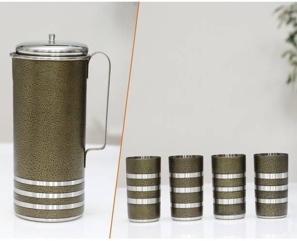 KLASSI KICHEN Stainless Steel Colored Water jug With 4pc Glass Jug Glass Set