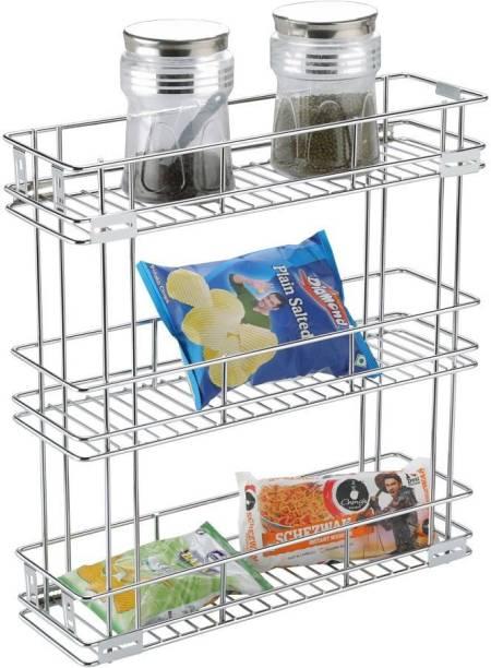 SMART SLIDE 3-Tier Stainless Steel Bottle Pull out Basket (6 X 20 X 21 INCH) for Modular Kitchen / Kitchen Cabinet Drawer / Multipurpose Container Shelf Organizer / Kitchen Trolley / Storage Rack Utensil Kitchen Rack