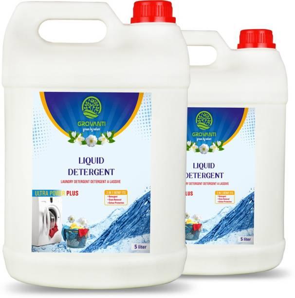 GROVANTI ORGANIC Ultra Power Plus Liquid Detergent 10 liter (5Liter+5 Liter) Aqua Liquid Detergent