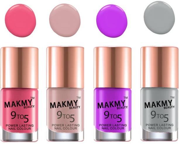 MAKMY BEAUTY Quick Dry Long Lasting Extra Shine Nail Set Of 4 Pcs MBNPINT4P25 Multicolor