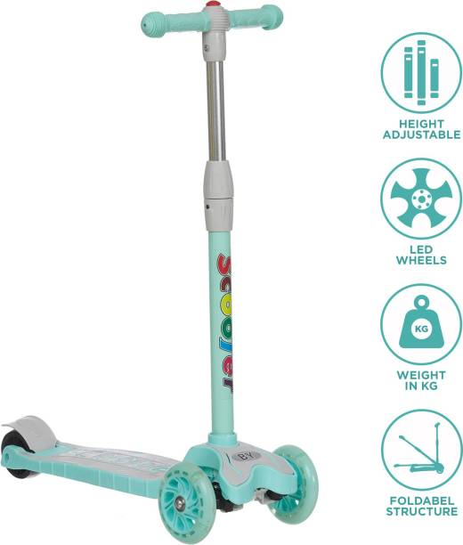 Miss & Chief Kids Scooter, 3 Adjustable Height,Foldable, Front Wheel & PU Wheels (3 to 8 Years Kids)