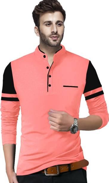 TRIPR Solid Men Henley Neck Pink, Black T-Shirt