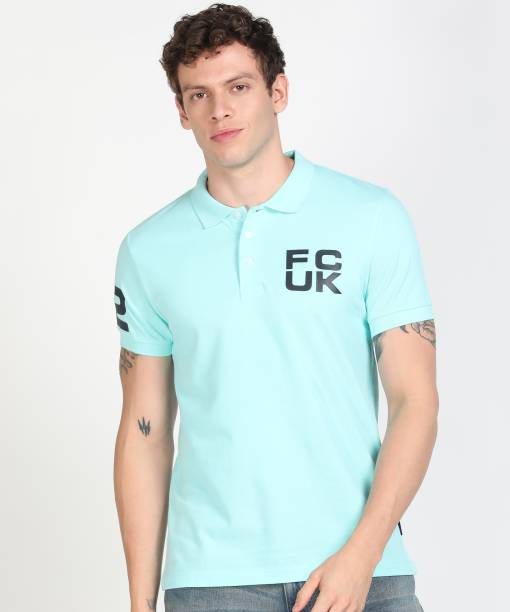 French Connection Solid Men Polo Neck Green T-Shirt