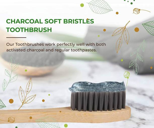 baneberry Premium Bamboo Toothbrush - Adult 1-Piece BPA Free Charcoal Activated Soft Bristles with Biodegradable Disposable Handle Toothbrushes, Natural, Eco-Friendly, Green and Compostable Brush Ultra Soft Toothbrush Medium Toothbrush