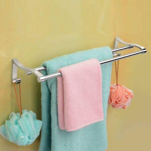 GLOXY Stainless Steel Straight Towel Holder/Towel Hanger/Towel Rod/Towel Bar for Bathroom and Kitchen (Chrome Finish) (24 INCH, 2 Strap) 24 inch 2 Bar Towel Rod
