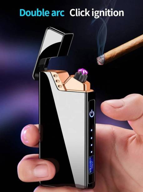 GREYFIRE USB Rechargeable Finger Touch Switch Electronic LED Windproof Double Arc Click Ignition Cigarette Lighter