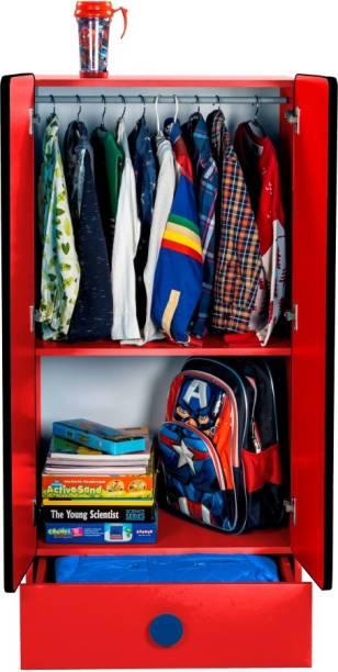 Yipi Cars Storage Kids Wardrobe With Drawer Engineered Wood 2 Door Wardrobe