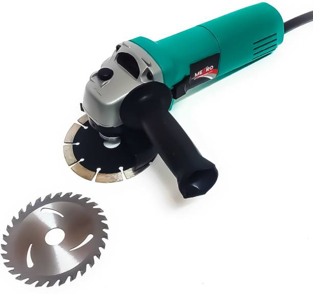 Metroo M6-100 Heavy Duty Machine with 2 high quality 4-inch wheels for cutting grinding buffing application (800 Watt & 11000 RPM) Angle Grinder