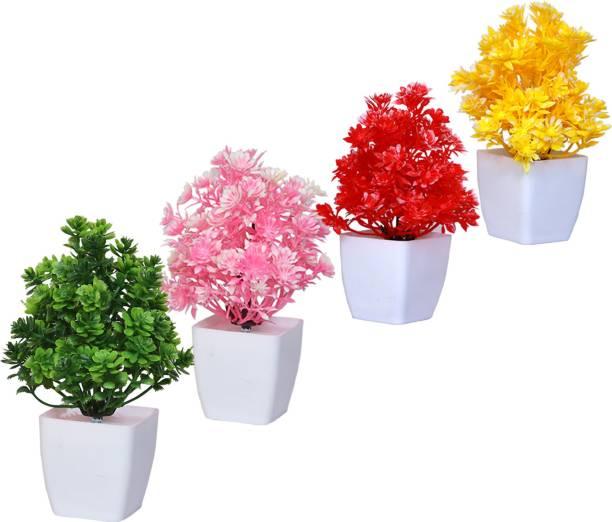 MODO Artificial Bonsai Mini Table Top Plant With Pot for Home & Office Dcor Bonsai Wild Artificial Plant  with Pot