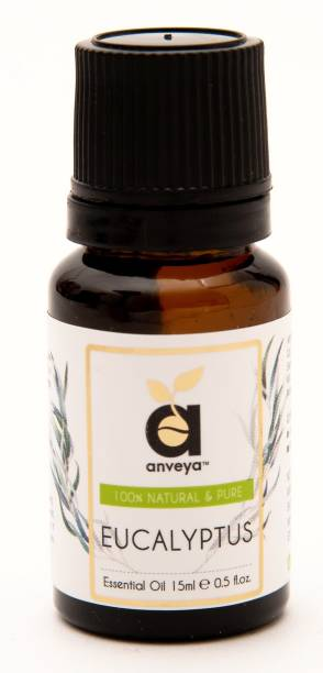 Anveya Eucalyptus Essential Oil, 15ml, 100% Natural & Pure, For Skin, Hair, and Wellness