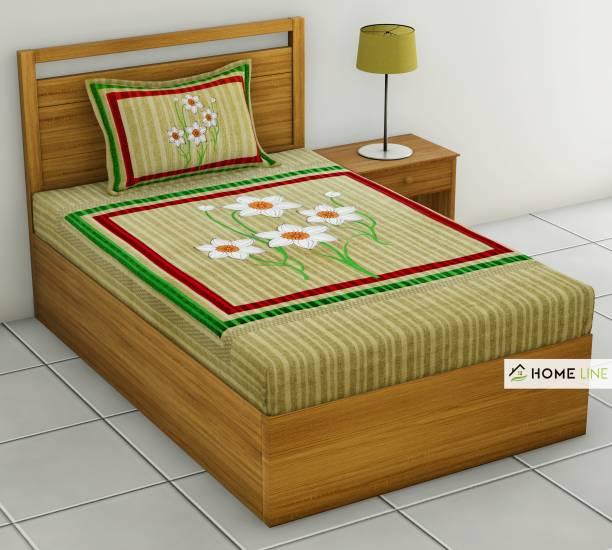 Homeline 150 TC Cotton Single Floral Bedsheet