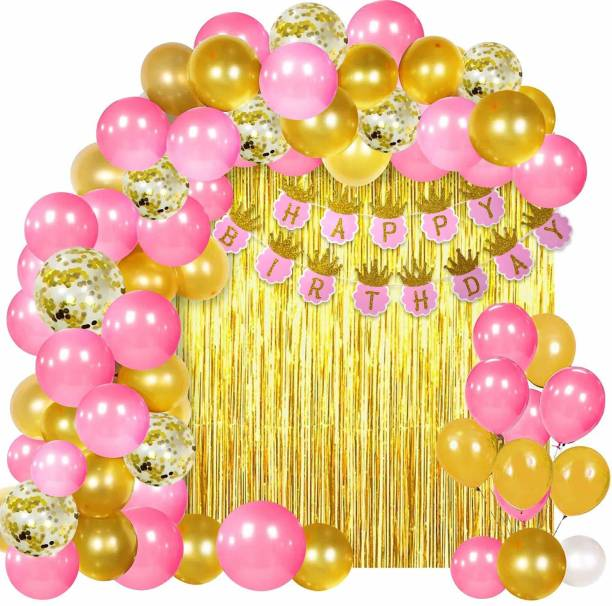 SOI Solid Happy Birthday Pink Crown Banner with HD Metallic & Confetti Balloons Decoration Kit for Girls Balloon